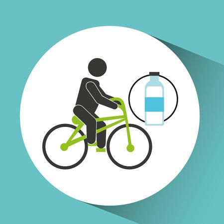 to sunbathe: sport man riding bike nutrition health vector illustration eps 10