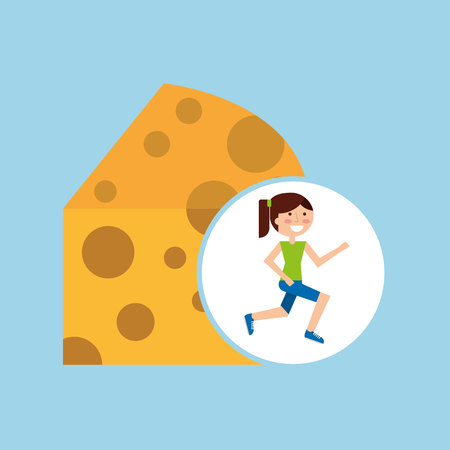 jogger: girl jogger cheese healthy lifestyle vector illustration eps 10