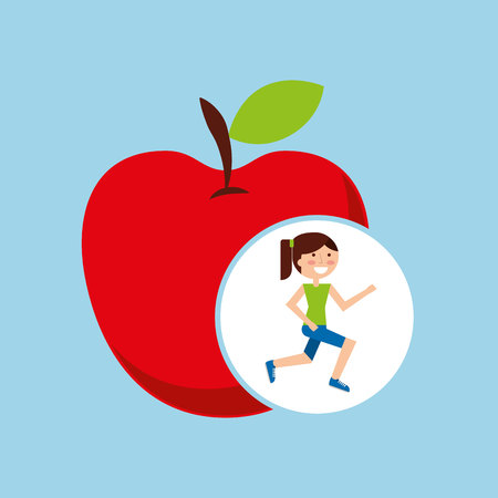 girl jogger apple healthy lifestyle vector illustration eps 10