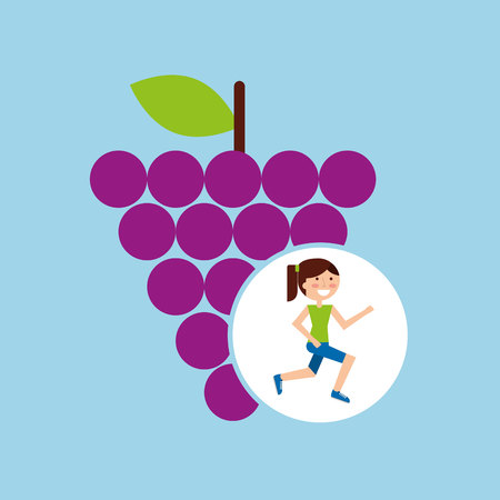 interracial: girl jogger grape healthy lifestyle vector illustration eps 10