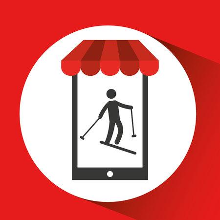 tatras: mobile phone silhouette sportman skiing vector illustration eps 10 Illustration