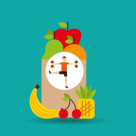 sleeping pills: man weight exercising bag health food vector illustration eps 10