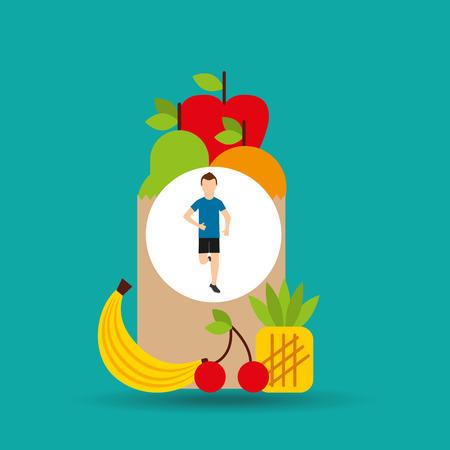 sleeping pills: man run exercising bag health food vector illustration eps 10