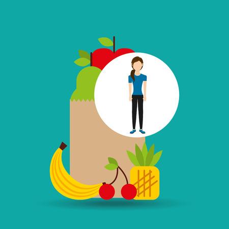 woman exercising healthy food bag vector illustration eps 10 Illustration