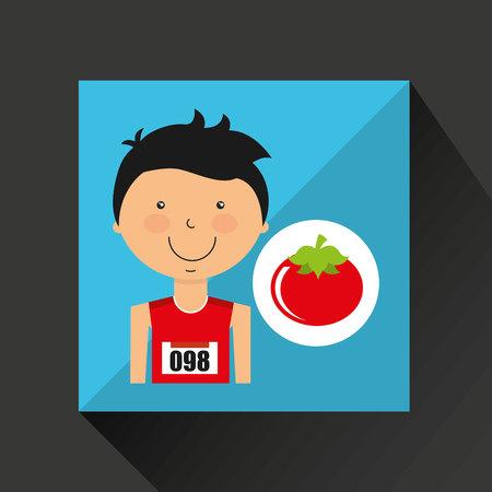 cartoon boy athlete with tomato vector illustration eps 10 Illustration