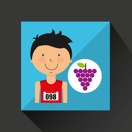 apples and oranges: cartoon boy athlete with grape vector illustration eps 10