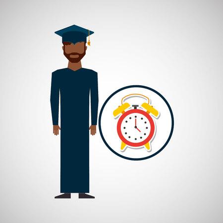 graduate student man clock alarm vector illustration eps 10