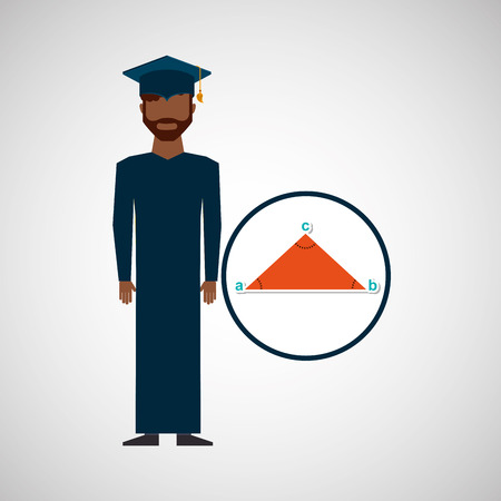 graduate student man geometry vector illustration eps 10