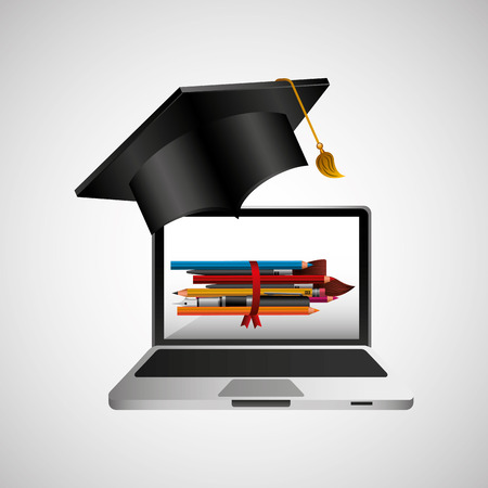 school: online education concept school accessories vector illustration