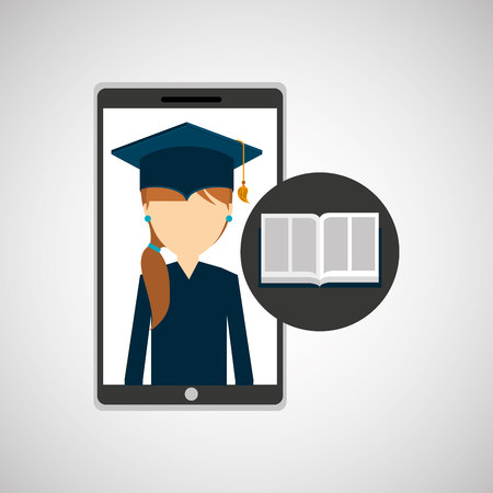 schoolmate: girl app education online e-learning vector illustration