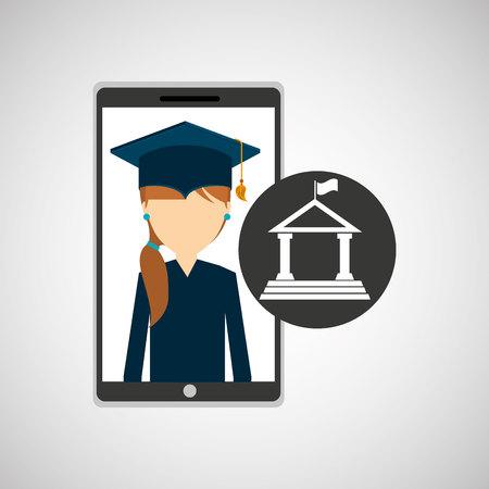 girl app education online building university vector illustration Illustration