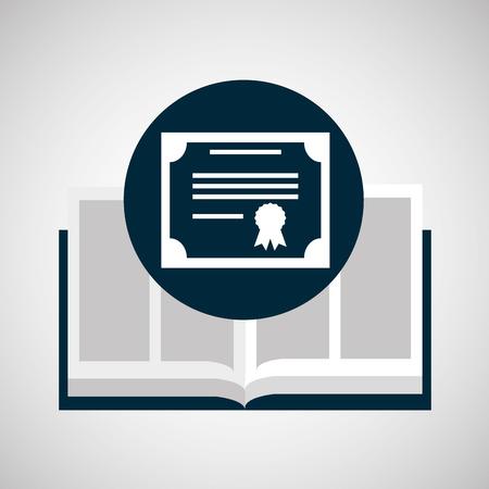 art museum: education opened book certificate graduation vector illustration