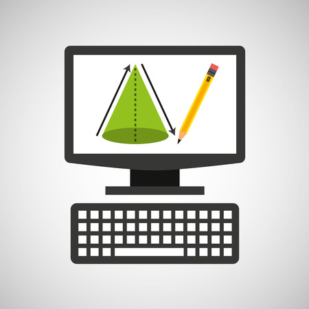 online education technology geometry cone vector illustration
