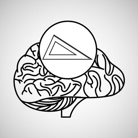 science symbols metaphors: measuring tool brain school knowledge vector illustration