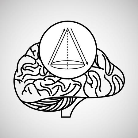 geometry brain school knowledge vector illustration