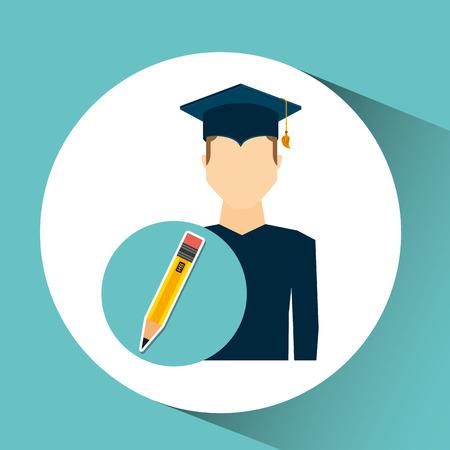 graduate student man pencil icon vector illustration