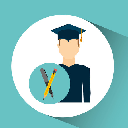 graduate student man writing vector illustration