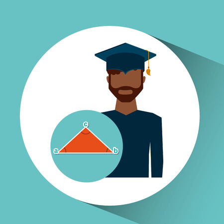 graduate student man geometry vector illustration Illustration