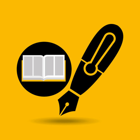 education opened book pen writing vector illustration