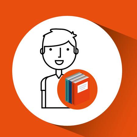 library books school college student vector illustration Illustration