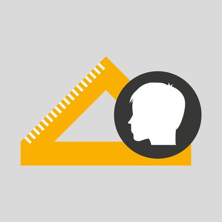 silhouette head boy student geometry vector illustration