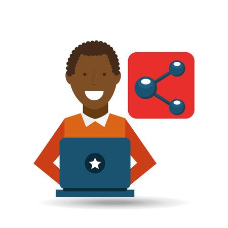 using laptop: man  using laptop share media icon vector illustration Illustration