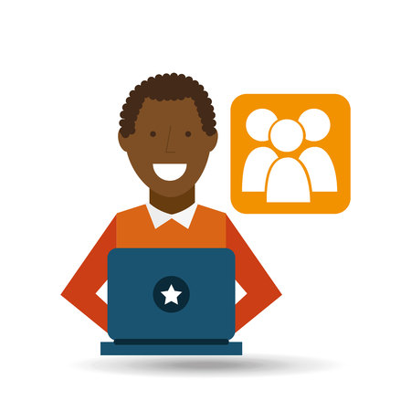 man   using laptop   media icon vector illustration