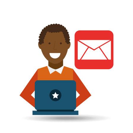 using laptop: man  using laptop email media icon vector illustration Illustration
