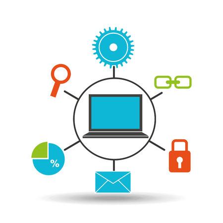 notebook technology social media concept vector illustration Illustration