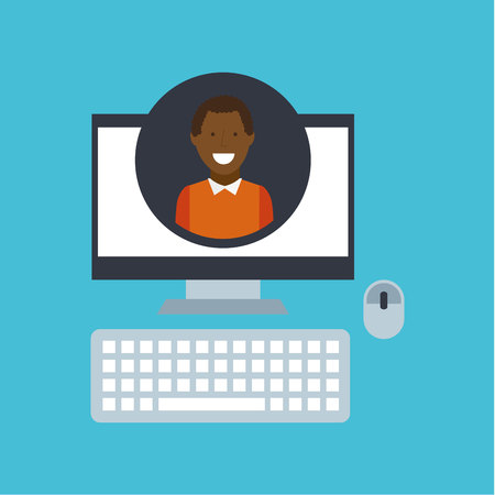 racial diversity: guy  community social network vector illustration