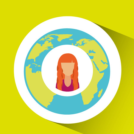 girl social media world map vector illustration