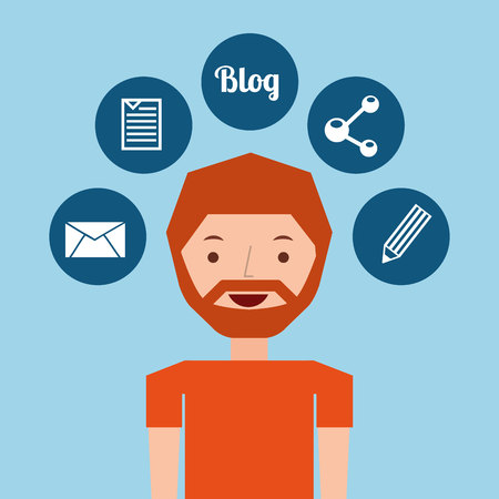 wealthy lifestyle: man bearded standing with social network icon vector illustration