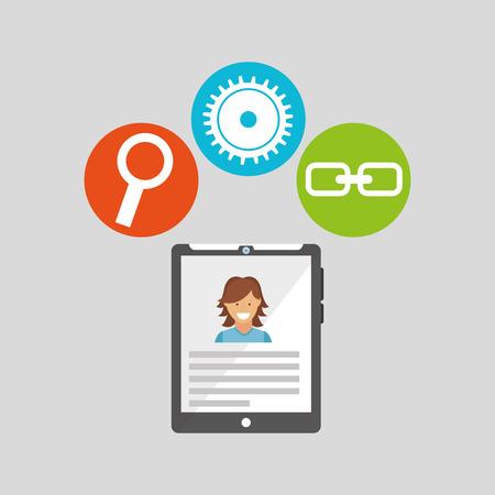 tablet technology social media concept vector illustration Illustration