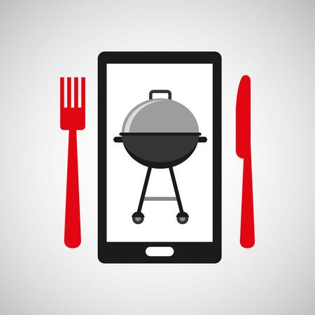 smartphone order bbq food online vector illustration eps 10