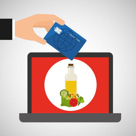 shopping online concept order salad menu vector illustration Illustration