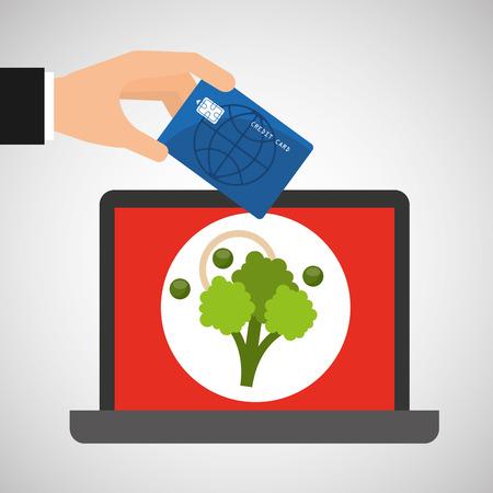 kale: shopping online concept order broccoli vector illustration