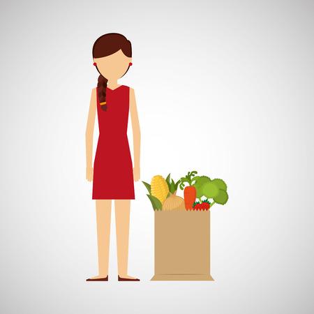 cartoon girl red dress grocery bag vegetables vector illustration Illustration