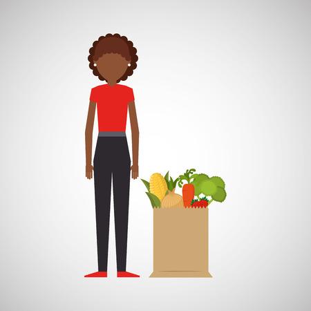 cartoon girl  grocery bag vegetables vector illustration