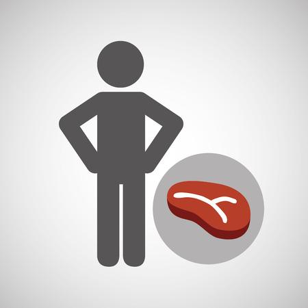 mediterranean diet: silhouette man meat nutrition healthy vector illustration