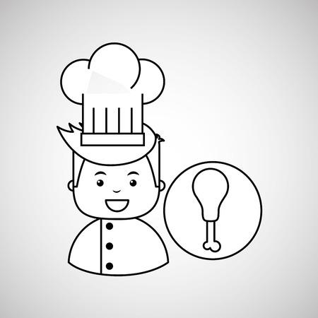 thigh: cartoon chef gourmet chicken thigh vector illustration Illustration