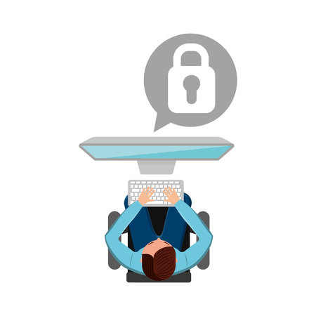 man working computer padlock media design vector illustration
