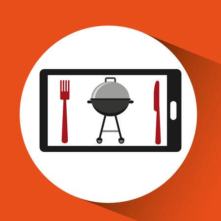 smartphone order bbq food online vector illustration Illustration