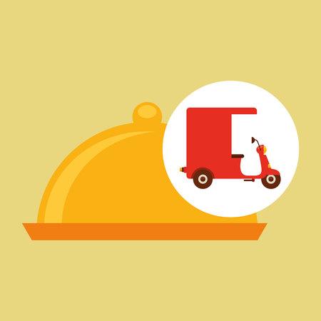 delivering motorcycle food platter vector illustration