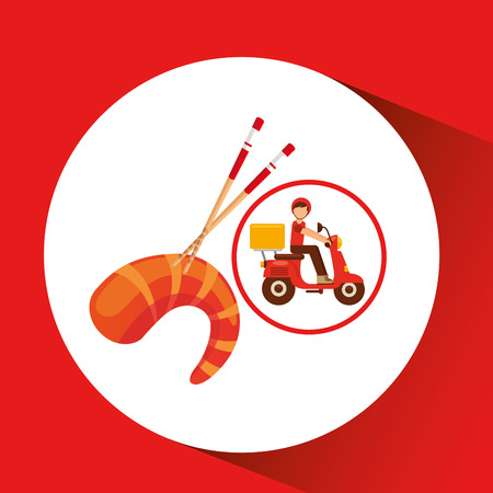 delivery boy ride motorcycle salmon japan vector illustration