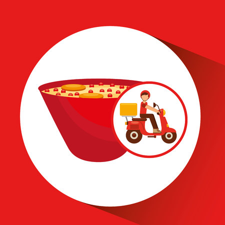 chinese food container: delivery boy ride motorcycle ramen vector illustration Illustration