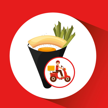 delivery boy ride motorcycle traditional japanese food vector illustration