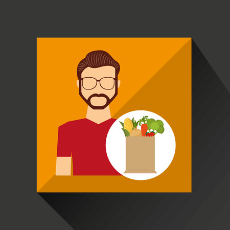 pareja comiendo: cartoon man with shop bag healthy food vector illustration