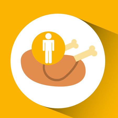 provision: silhouette man chicken nutrition healthy vector illustration Illustration