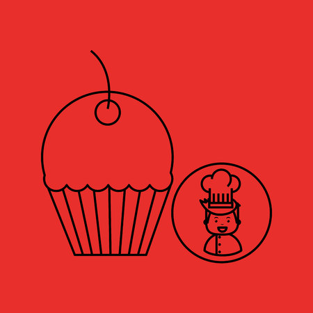 cartoon chef gourmet sweet cup cake vector illustration