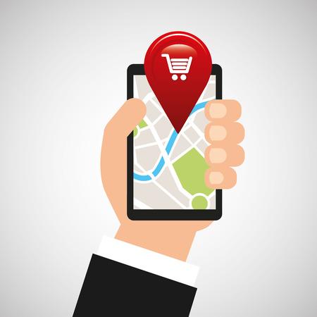 hand holds phone navigation app market vector illustration